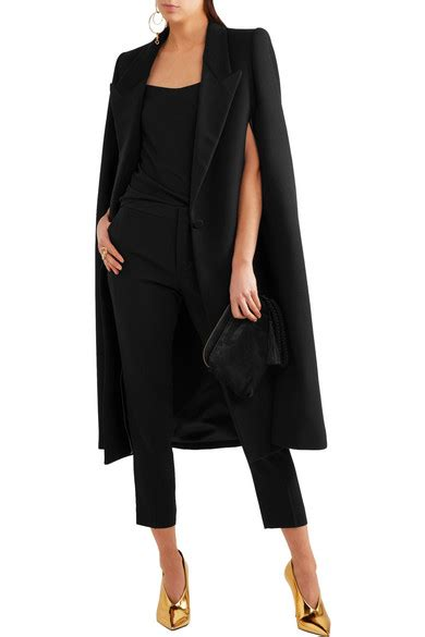 stella mccartney regina wool blend cape coat in black lyst stella mccartney twill trimmed wool blend cape net a