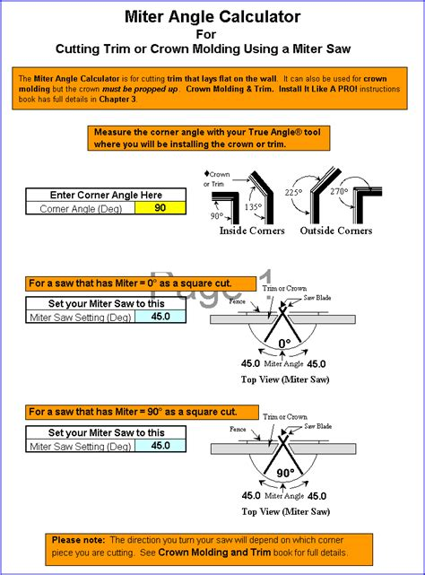 Compound Miter Excel Program Master Crown Molding Angles