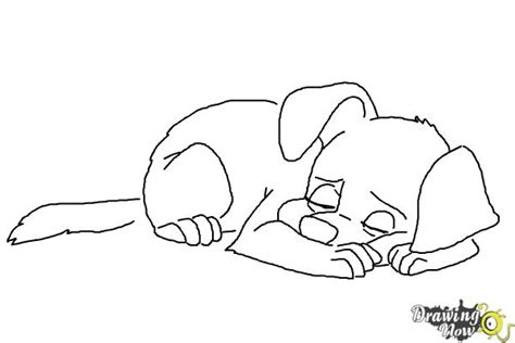 sleeping puppies coloring pages how to draw a sleeping dog drawingnow
