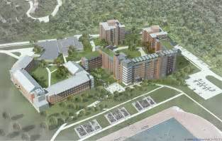 Aerial rendering of new stem residence hall on uconn campus courtesy