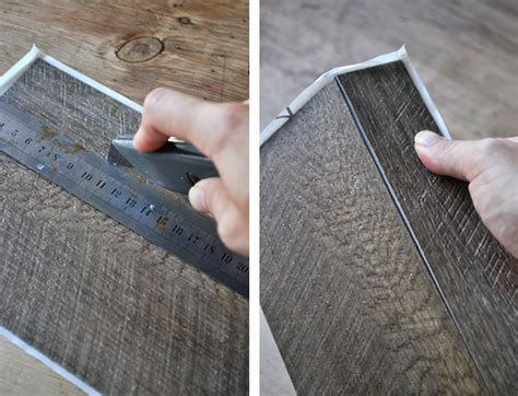 Cutting Vinyl Plank Flooring by The Painted Hive Easy Diy Faux Multi Drawer Cabinet Hack