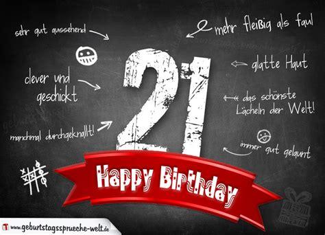 21 Geburtstag Bilder by Komplimente Geburtstagskarte Zum 21 Geburtstag Happy
