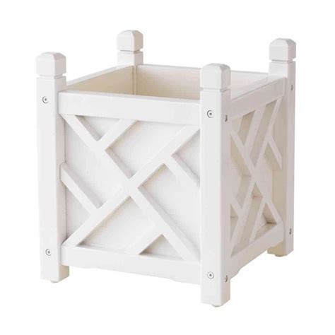 Chippendale Square Planter by Dmc Chippendale 14 In Square White Wood Planter 70202