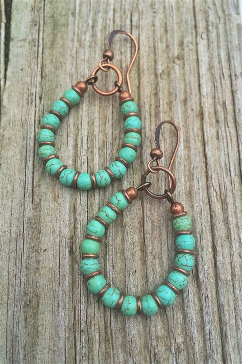Turquoise Handmade Jewelry - turquoise hoop earrings copper and turquoise handmade