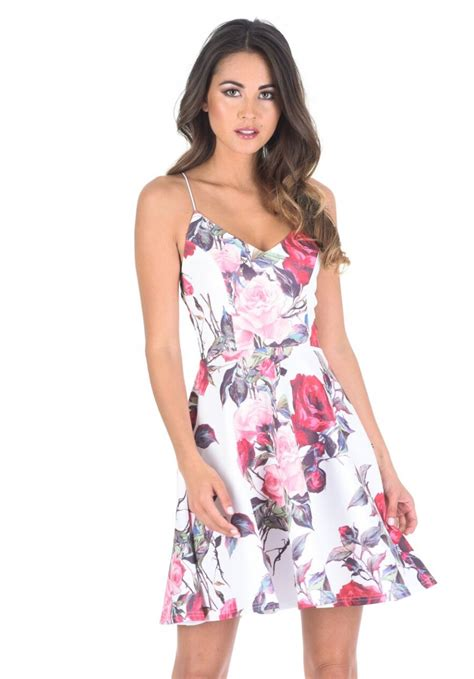 strappy floral dress strappy floral v neck skater dress