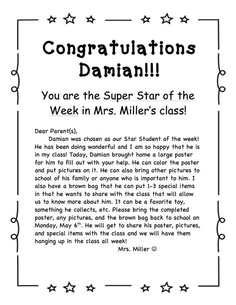 sta lettere student of the week school