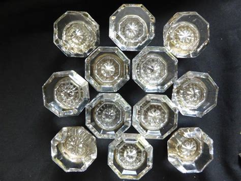 6 Pairs Antique Octagonal Glass Door Knobs Circa 1901 Octagonal Glass Door Knobs