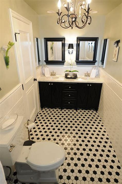 black and white tile floor bathroom bathroom with black and white floor wood floors