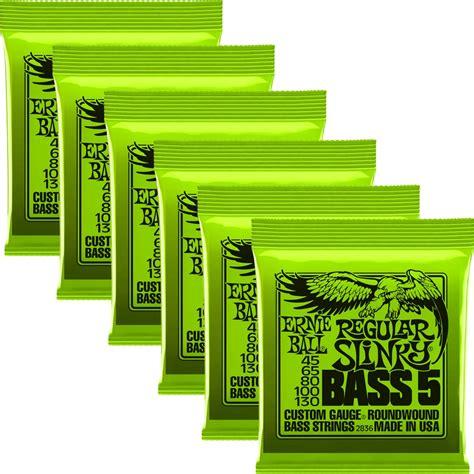 Stringsnar Bass Ernie Regular Slinky 5 45 130 6 pack ernie 2836 regular slinky 5 string nickel wound electric bass strings 45 130