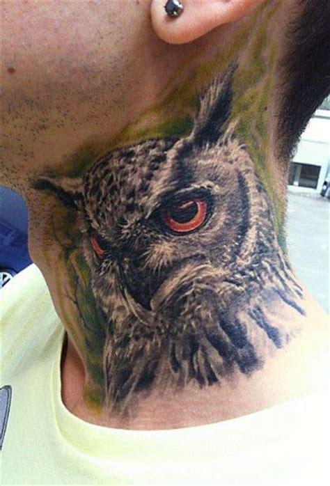 owl neck tattoo realistic neck owl tattoo by roman kuznetsov tattoo