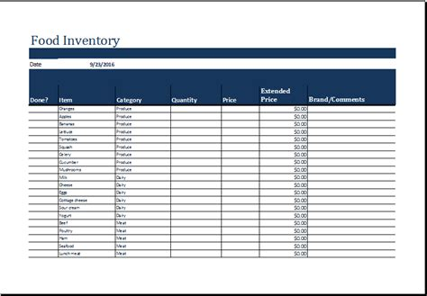 food inventory template ms excel printable food inventory list template excel