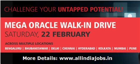 Walk In In Bangalore For Mba Freshers by Tcs Mega Oracle Walkin Drive On 22nd February 2014 Across