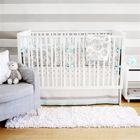 Aqua And Grey Crib Bedding Aqua And Gray Baby Bedding
