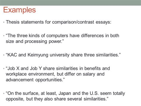 thesis statement exles compare contrast essays academic writing i april 17th ppt