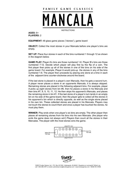 Printable Mancala Instructions | fundex games board games mancala user s guide