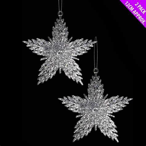festive christmas xmas snowflake star hanging glitter