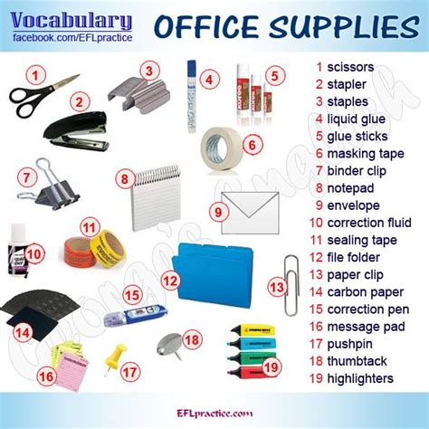 office supplies vocabulary pictures pinterest