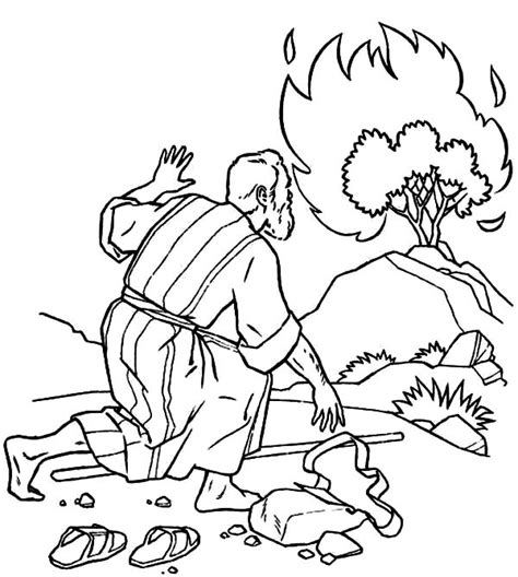 moses and the burning bush coloring pages free android