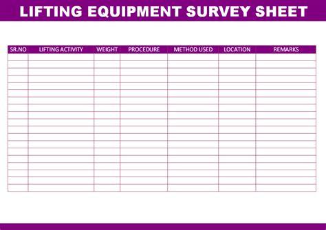lift study template lifting equipment survey sheet
