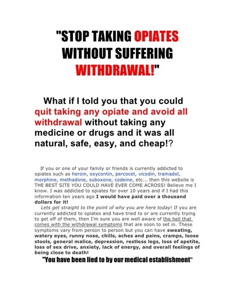 Can I Stop Without Detox by Stop Taking Opiates Without Suffering Withdrawal