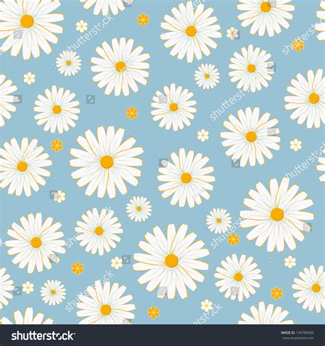 daisy background pattern vector seamless daisies vector pattern stock vector 145785950