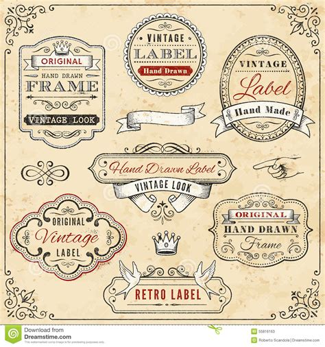 hand drawn vintage framed label templates stock vector