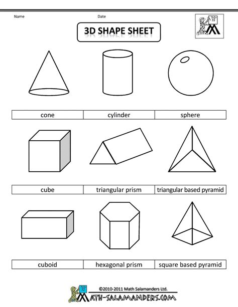 shape pattern worksheets for 2nd grade 3d geometric shapes sheet bw gif 790 215 1 022 pixels lesson