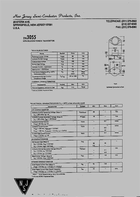 datasheet transistor 2n3055 2n3055 4112100 pdf datasheet ic on line