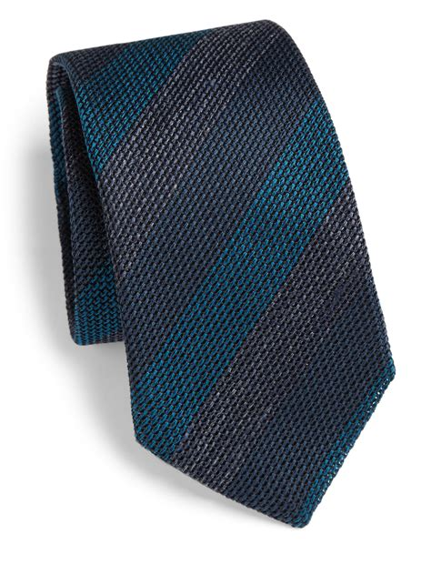 blue knit tie burberry knit striped tie in blue for lyst