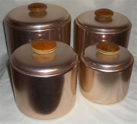 set of 3 vintage canister set mirro canisters kitchen 4 piece retro 1960 s mirro aluminum copper canister set