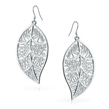 925 Silver Leaf Earring 925 sterling silver large filigree leaf from moodtherapy