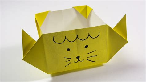 Origami Cat Box - how to make a paper box origami cat box