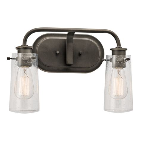 bronze bathroom vanity lights shop kichler lighting 2 light braelyn olde bronze bathroom