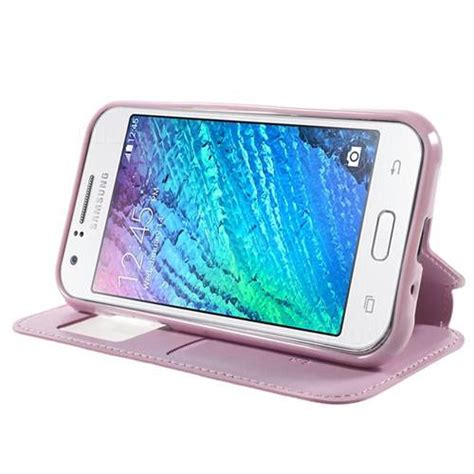 Samsung Galaxy Flip Cover J1 Pink roar korea noble view leather flip cover for samsung