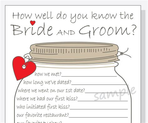 how well do you the template how well do you the and groom printable cards