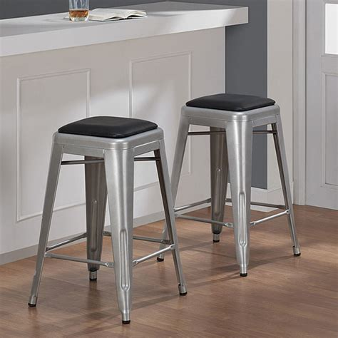 Tabouret 24 Inch Metal Counter Stools Set Of 2 by Tabouret 24 Inch Padded Metal Counter Stool Set Of 2