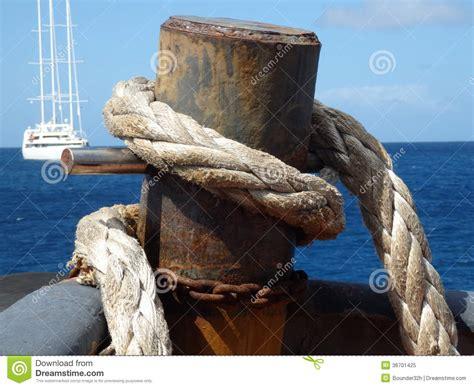 heavy boat rope heavy nautical rope on a tug boat royalty free stock