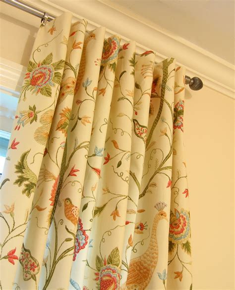 window panel drapes peacock bird floral fabric