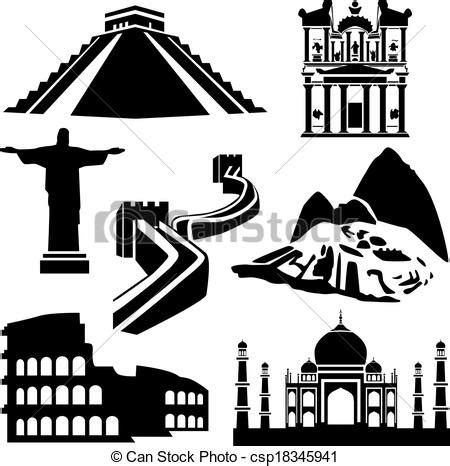 Sketches Of 7 Wonders In World by Eps Vector Of Seven Wonders Of The World Csp18345941
