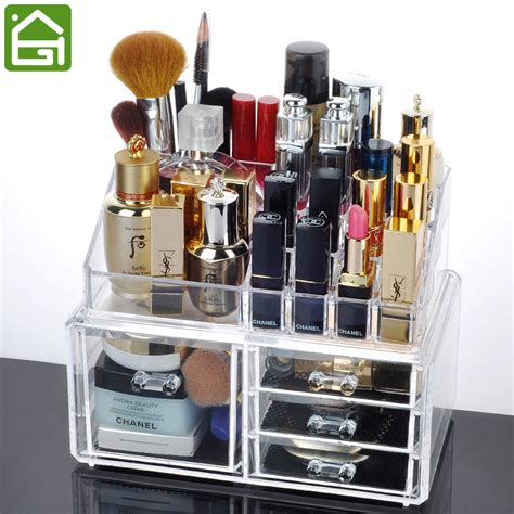 Makeup Desk Organizer Acrylic Makeup Jewelry Storage Container 4 Compartment Cosmetic Jewelry Drawer Desk Organizer In