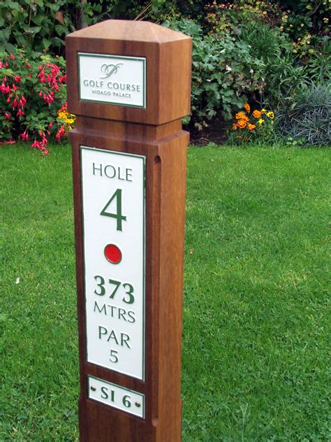 chions golf club plaques slimline hardwood single tee post with etched zinc plates