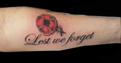 lest we forget poppy flower tattoo design for forearm by