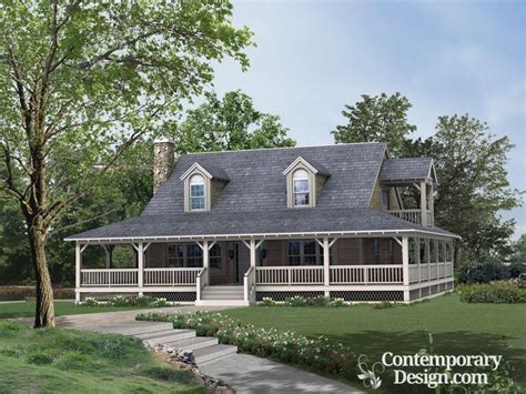One Story Farmhouse Plans by Ranch Style House With Wrap Around Porch