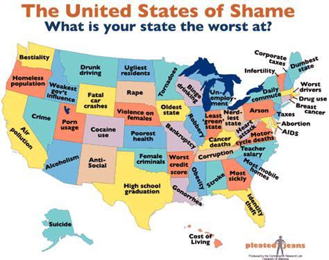 Mapas de Estados Unidos con lo admirable y lo vergonzoso