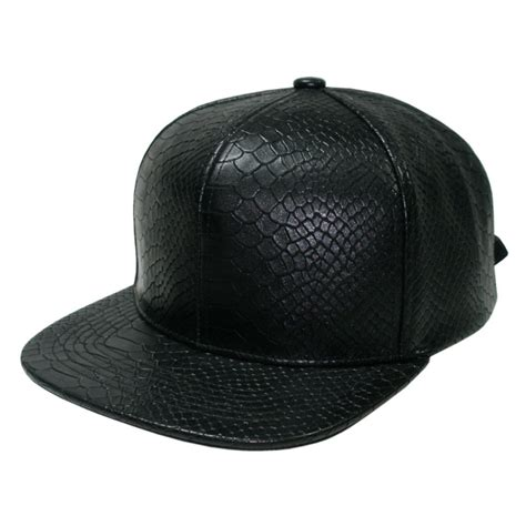 best quality snakeskin leather strapback baseball cap