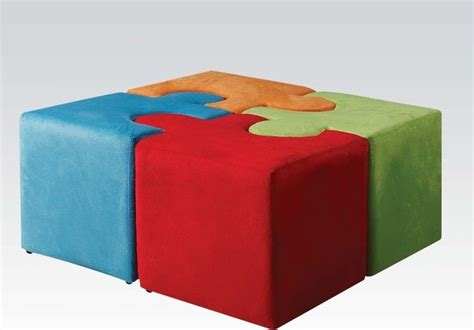 multi colored ottomans puzzle ottoman vala multi color youth ottoman