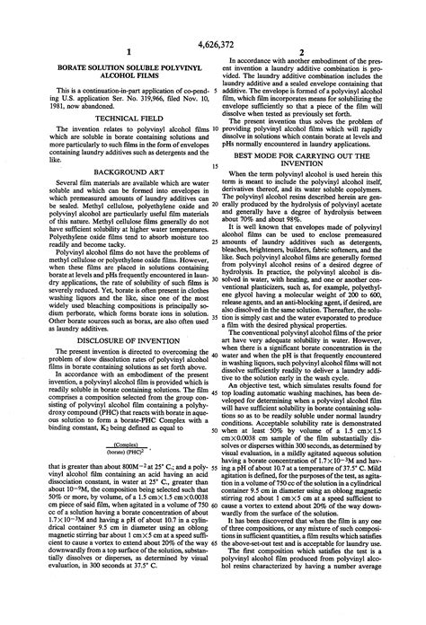 Patent US4626372 - Borate solution soluble polyvinyl