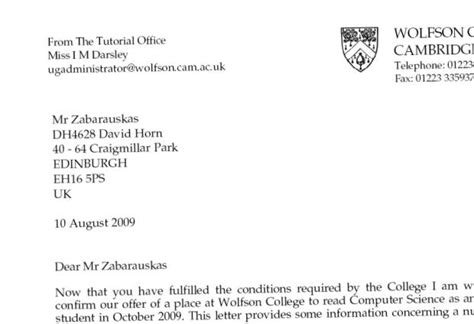 Cambridge Offer Letters Cambridge Manfred Zabarauskas