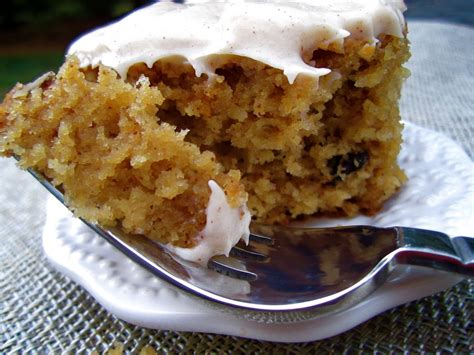 stephanie cooks spiced applesauce cake with cinnamon cream cheese frosting