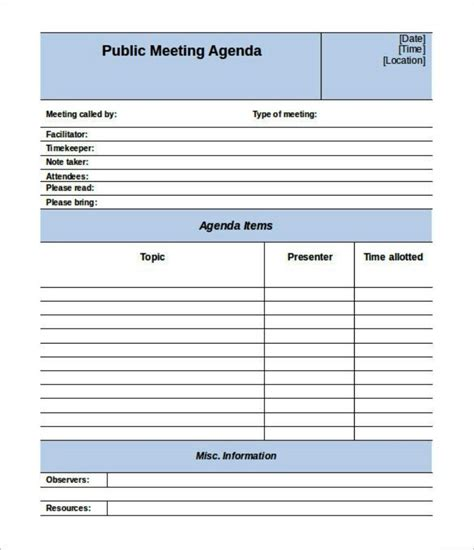 meeting agenda template excel editable meeting agenda template templatezet